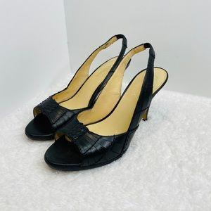 Cole Haan Black Woven Leather Slingback Heels